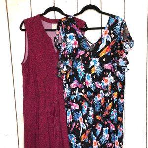 Tropical Romper and Burgundy Ikat Design Dress